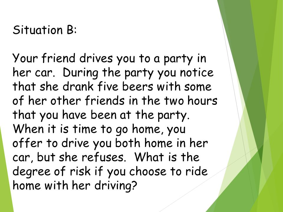 Situation B: Your friend drives you to a party in her car.