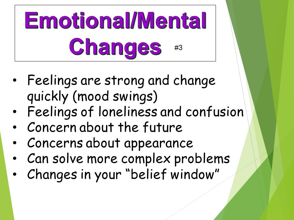 Feelings are strong and change quickly (mood swings) Feelings of loneliness and confusion Concern about the future Concerns about appearance Can solve more complex problems Changes in your belief window #3