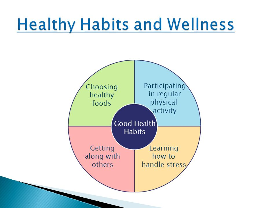 Good Health Habits Choosing healthy foods Participating in regular physical activity Learning how to handle stress Getting along with others