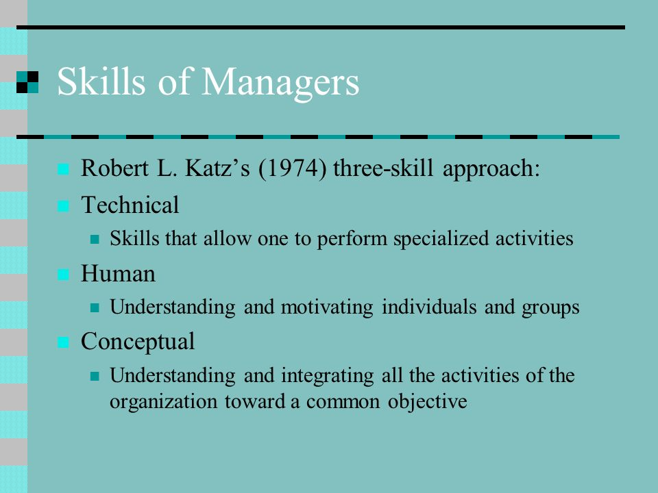 Skills of Managers Robert L.