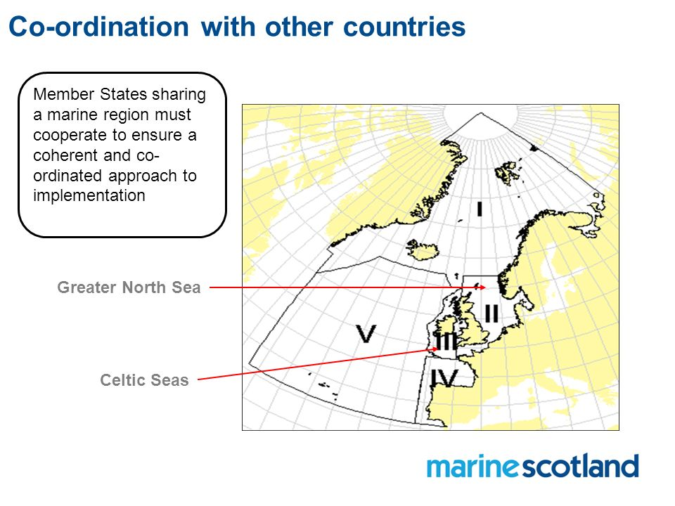 Co-ordination with other countries Member States sharing a marine region must cooperate to ensure a coherent and co- ordinated approach to implementation Greater North Sea Celtic Seas