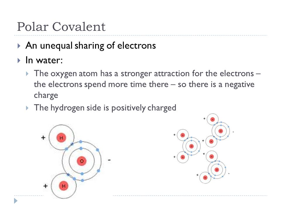 Polar Covalent  An unequal sharing of electrons  In water:  The oxygen atom has a stronger attraction for the electrons – the electrons spend more time there – so there is a negative charge  The hydrogen side is positively charged