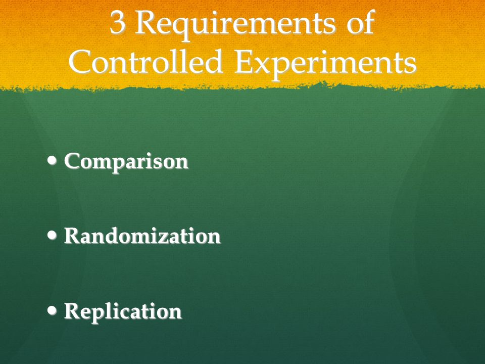 3 Requirements of Controlled Experiments Comparison Comparison Randomization Randomization Replication Replication