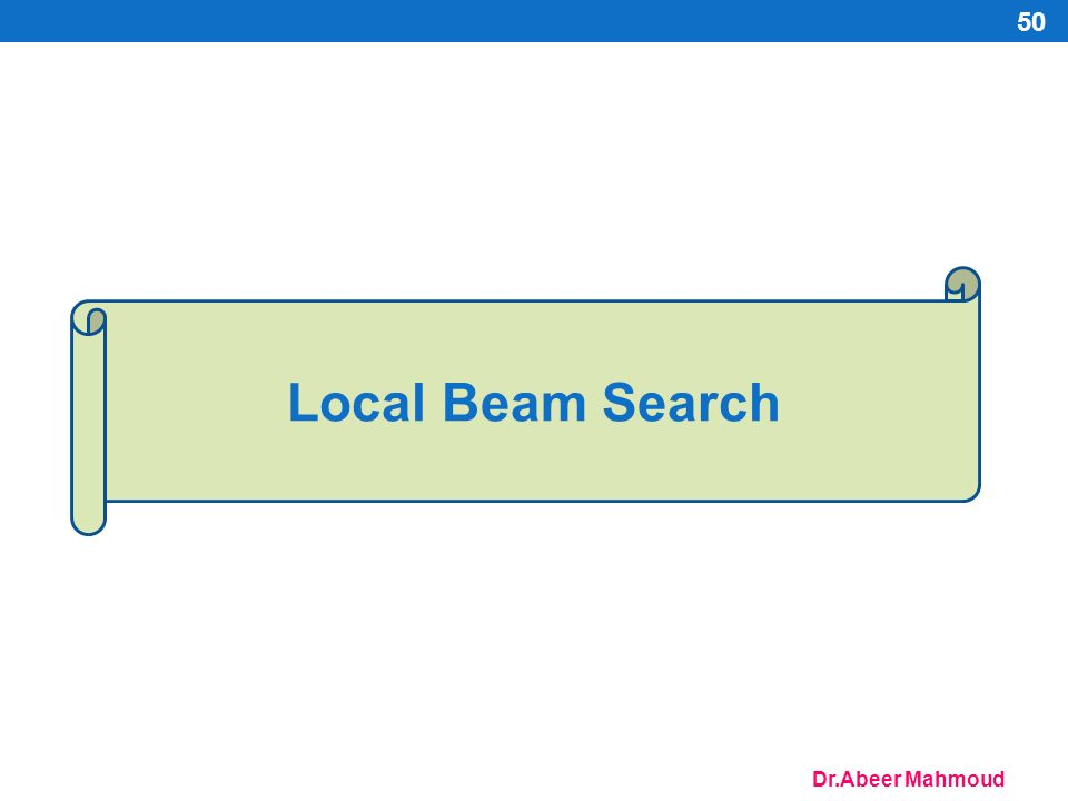 Dr.Abeer Mahmoud Local Beam Search 50