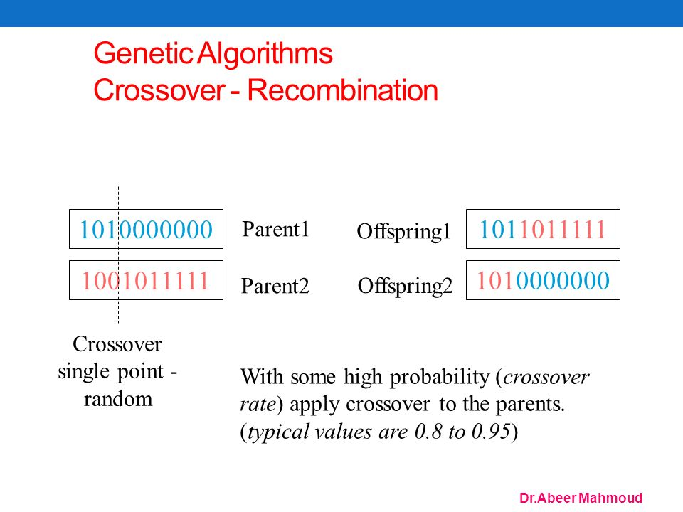 Dr.Abeer Mahmoud 75 Genetic Algorithms Crossover - Recombination Crossover single point - random Parent1 Parent2 Offspring1 Offspring2 With some high probability (crossover rate) apply crossover to the parents.