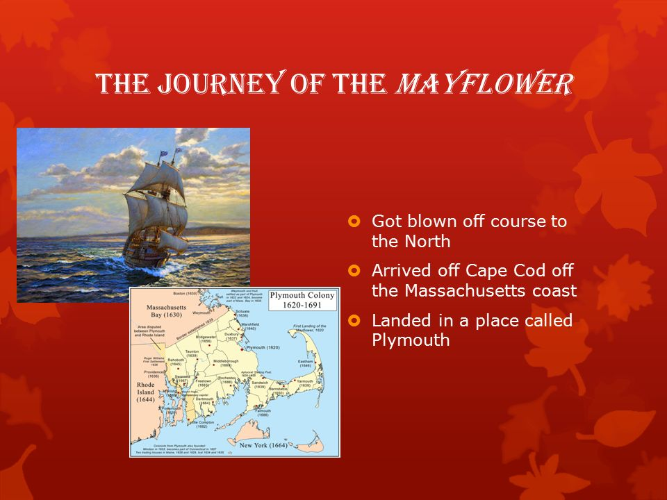 The Journey of the Mayflower  Got blown off course to the North  Arrived off Cape Cod off the Massachusetts coast  Landed in a place called Plymouth