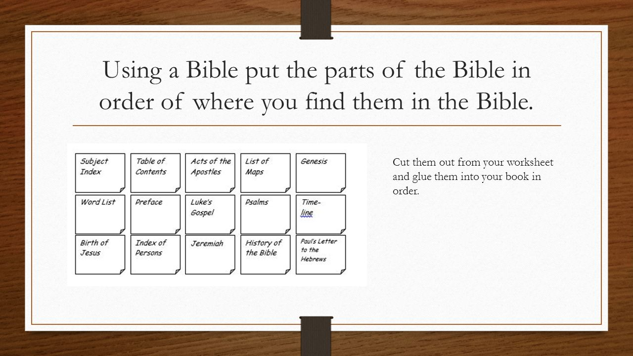 THE BIBLE YEAR FOUR TERM THREE 3 WEEK UNIT LEARNING INTENTION – Learning the Books of the Bible Worksheet