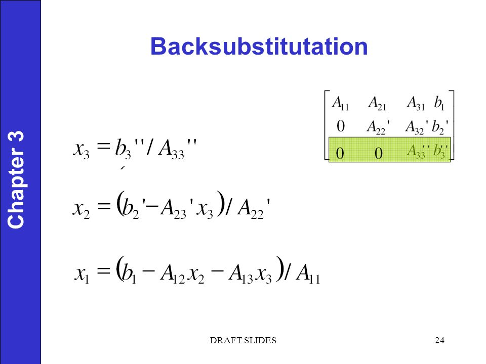 Chapter 1 Backsubstitutation 24 Chapter 3 DRAFT SLIDES