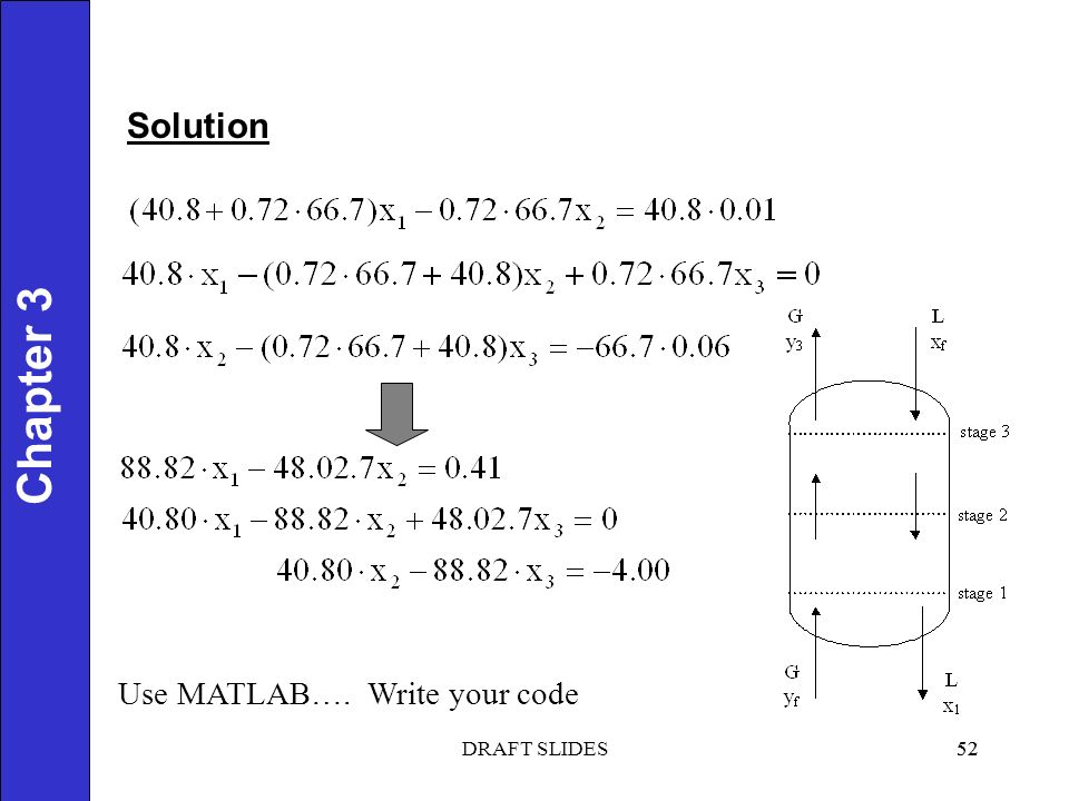 Chapter 1 Solution 52 Chapter 3 Use MATLAB…. 52DRAFT SLIDES Write your code