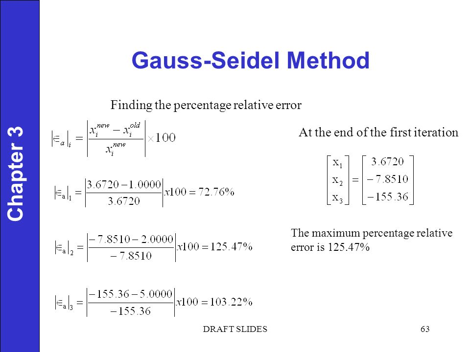 Chapter 1 Gauss-Seidel Method 63 Chapter 3 Finding the percentage relative error At the end of the first iteration The maximum percentage relative error is % DRAFT SLIDES