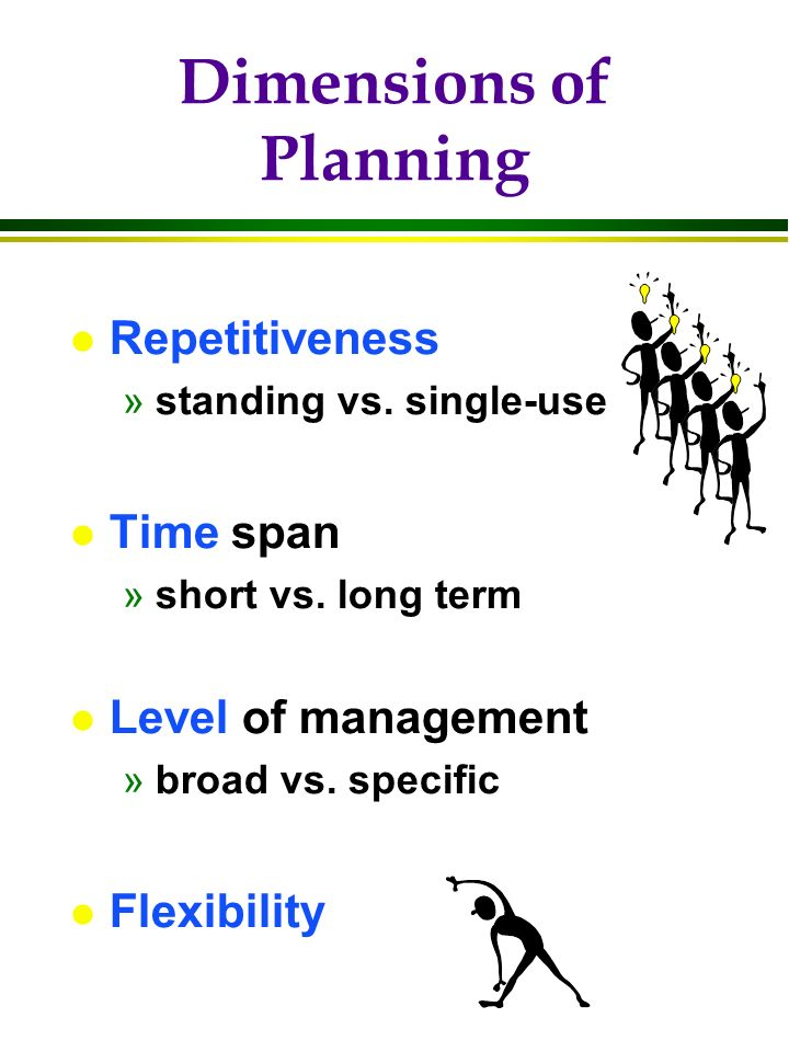 Dimensions of Planning l Repetitiveness »standing vs.