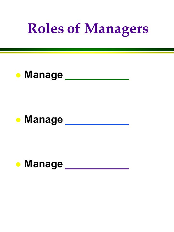 Roles of Managers l Manage ___________
