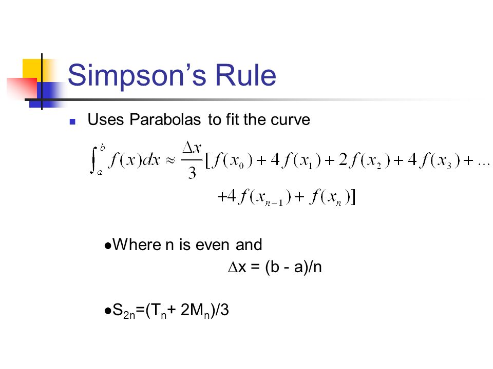 Simpson's Rule Uses Parabolas to fit the curve Where n is even and ∆x = (b - a)/n S 2n =(T n + 2M n )/3