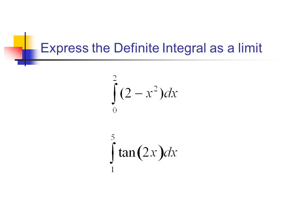 Express the Definite Integral as a limit
