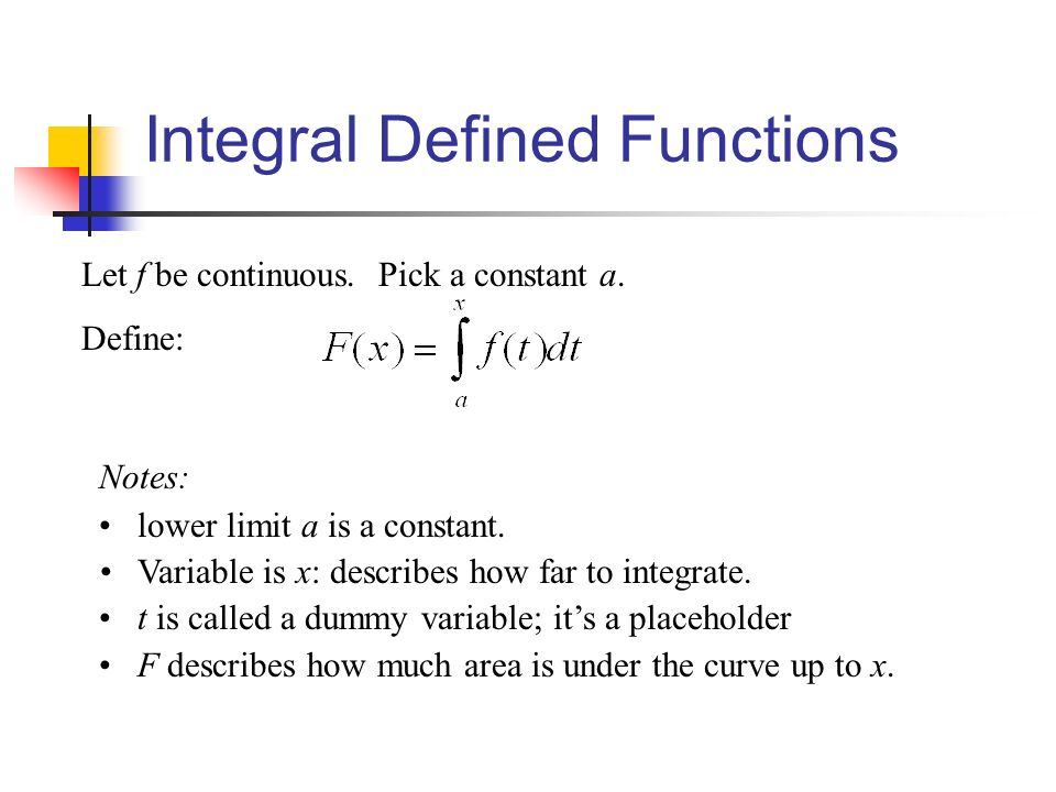 Integral Defined Functions Let f be continuous. Pick a constant a.