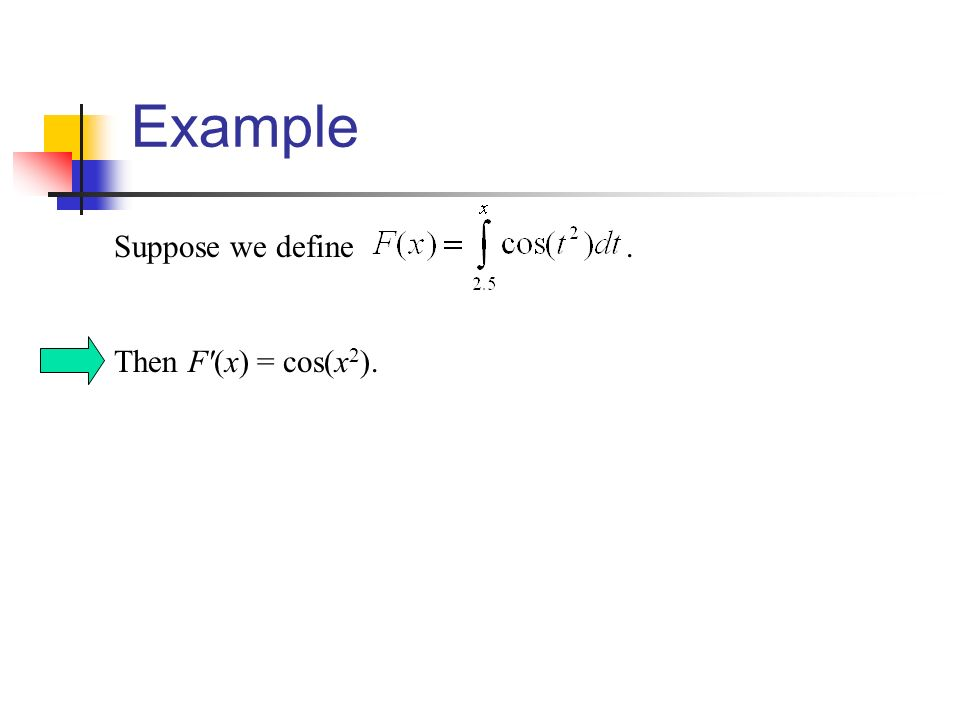 Example Suppose we define. Then F (x) = cos(x 2 ).
