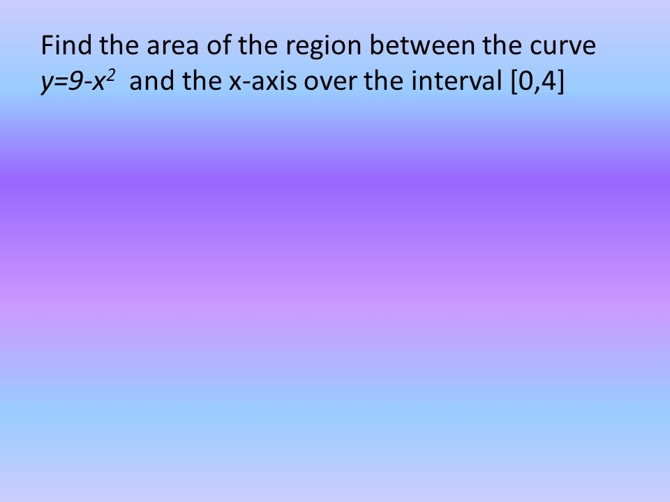 Find the area of the region between the curve y=9-x 2 and the x-axis over the interval [0,4]