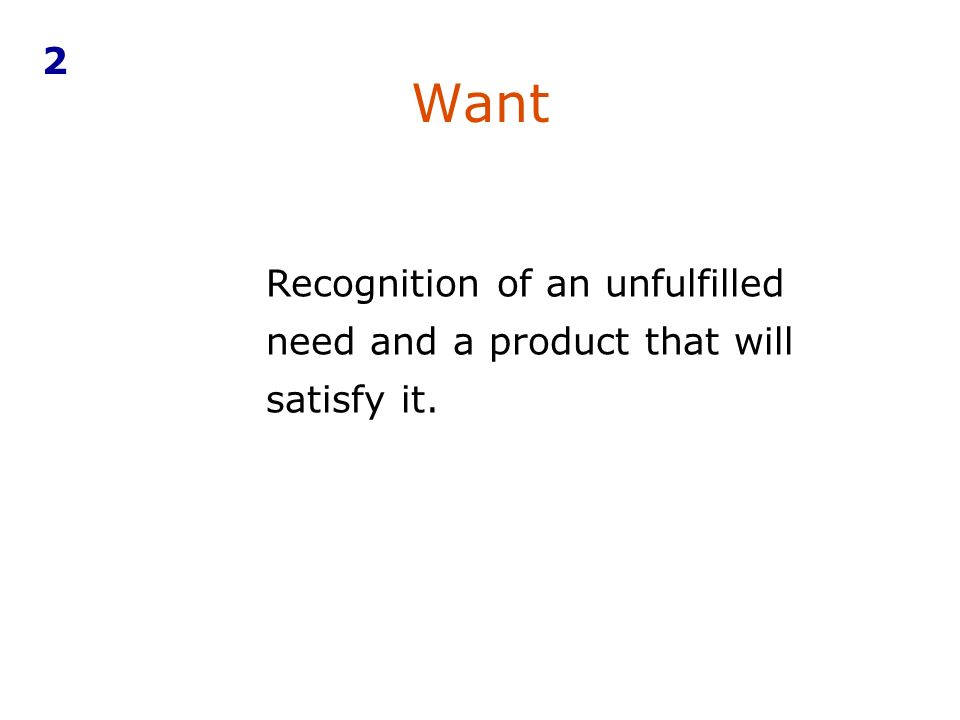 Want 2 Recognition of an unfulfilled need and a product that will satisfy it..