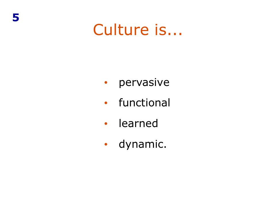 Culture is... pervasive functional learned dynamic. 5