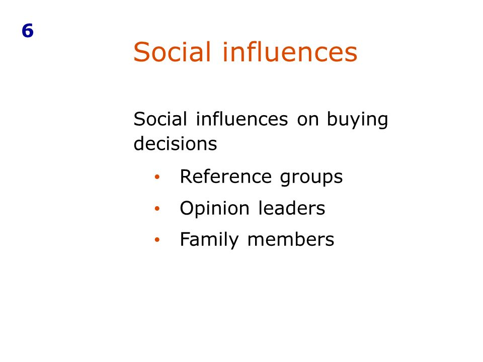 Social influences on buying decisions Social influences 6 Reference groups Opinion leaders Family members