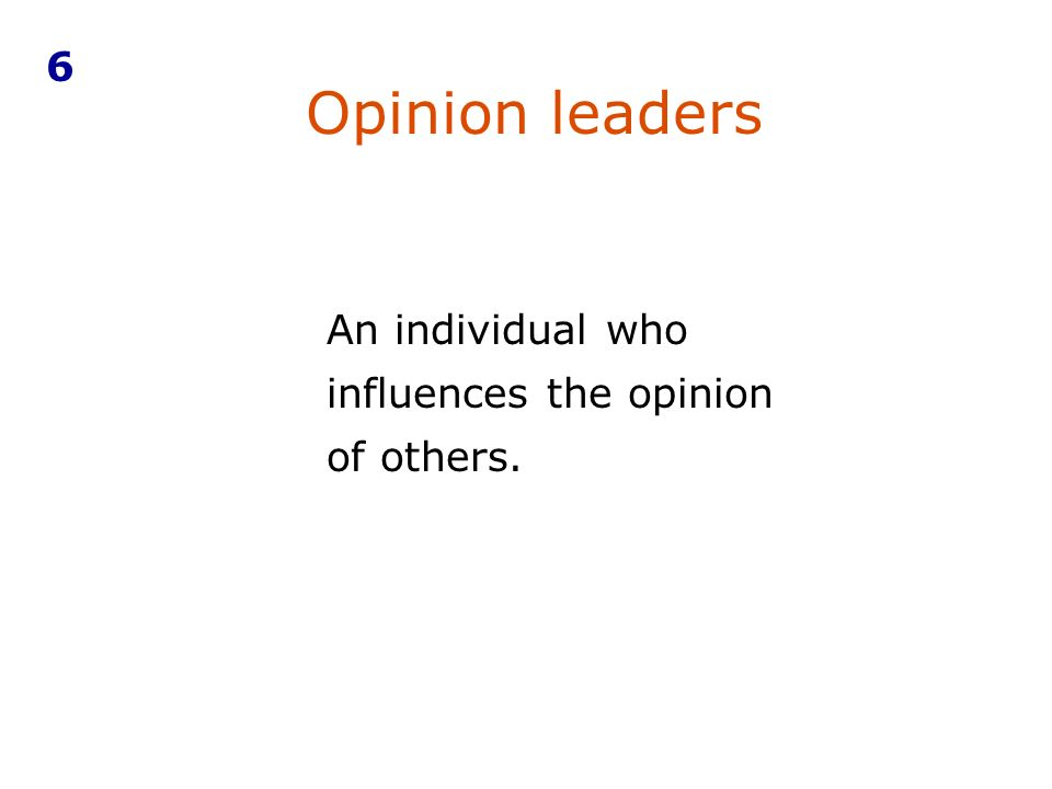 An individual who influences the opinion of others. Opinion leaders 6