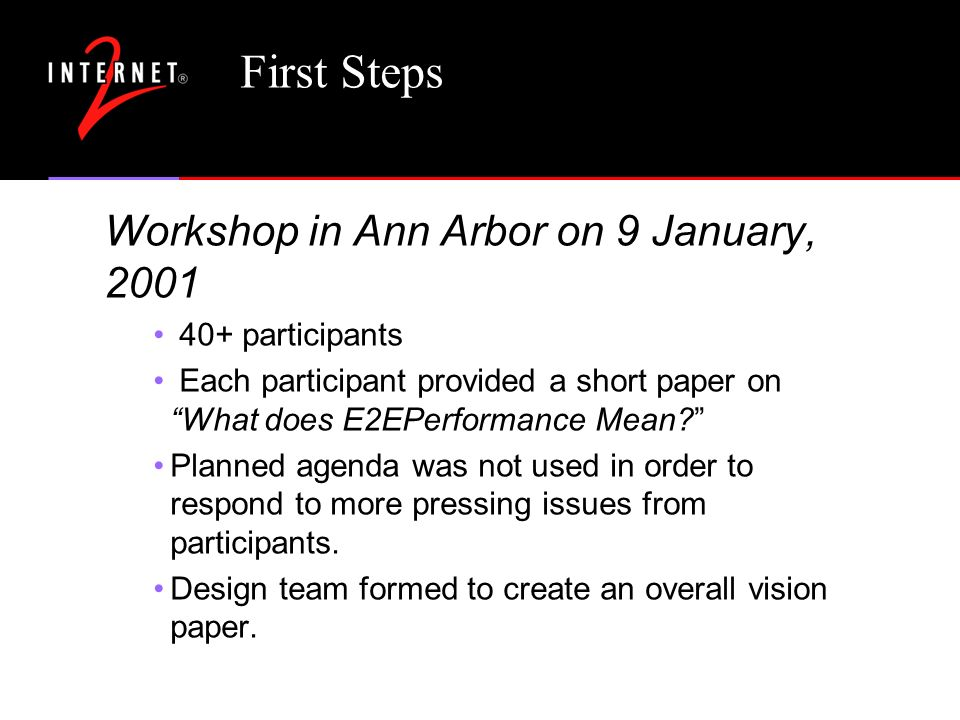First Steps Workshop in Ann Arbor on 9 January, participants Each participant provided a short paper on What does E2EPerformance Mean Planned agenda was not used in order to respond to more pressing issues from participants.