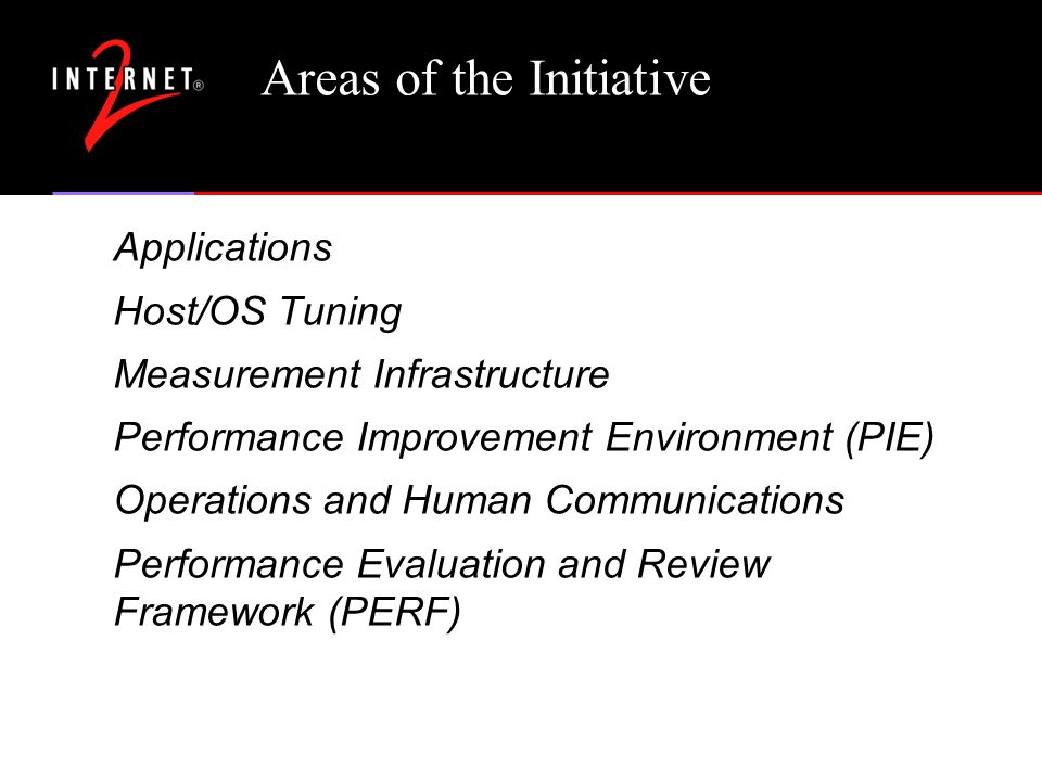 Areas of the Initiative Applications Host/OS Tuning Measurement Infrastructure Performance Improvement Environment (PIE) Operations and Human Communications Performance Evaluation and Review Framework (PERF)