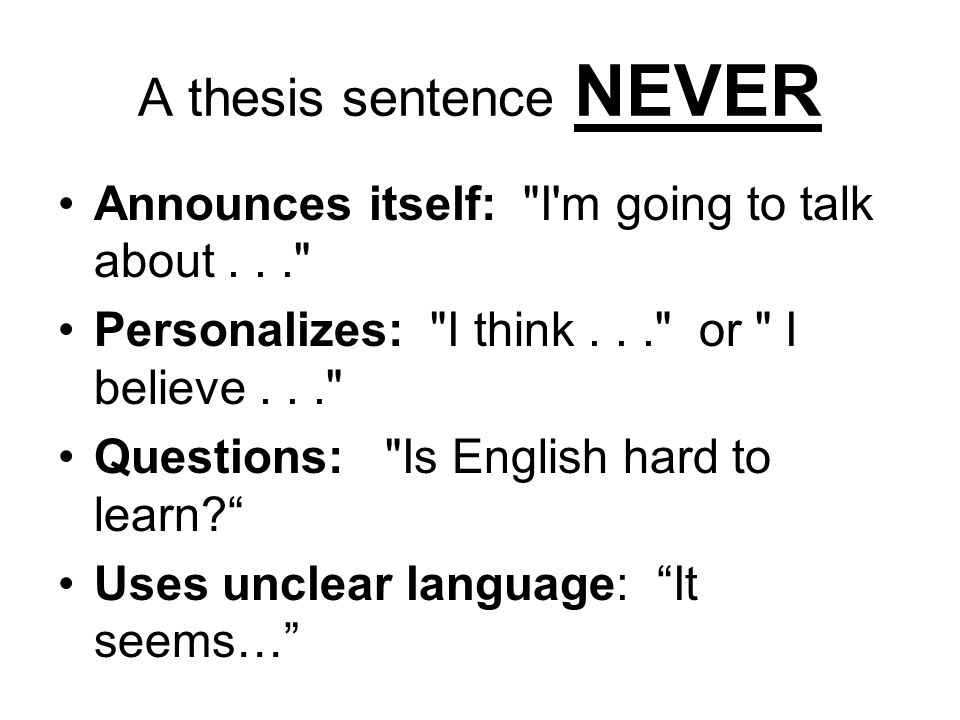 the definition of thesis One definition of thesis is that it is the most important or foundational idea of an argument, presentation, or piece of writing but it can also mean a large work of art, criticism, or scientific research that represents original research and is generally the final requirement for an academic degree.