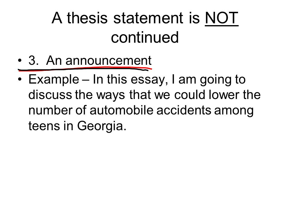 a thesis statemnet Bad & better thesis statements it is different from a topic sentence in that a thesis statement is not neutral it announces, in addition to the topic.