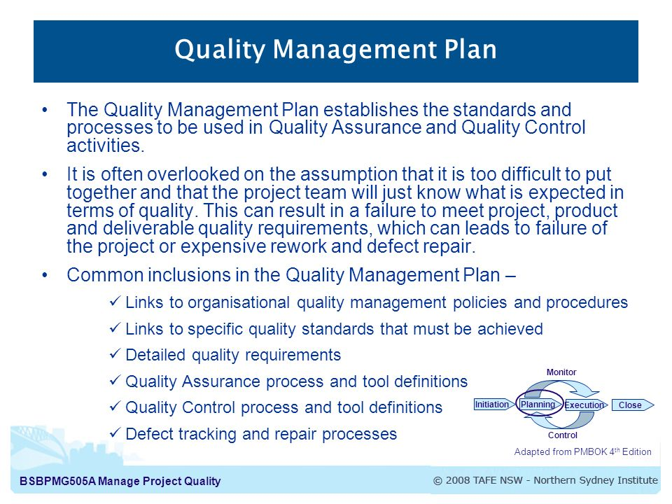 Bsbpmg505A Manage Project Quality Manage Project Quality Project