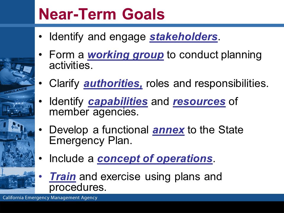 Near-Term Goals Identify and engage stakeholders.