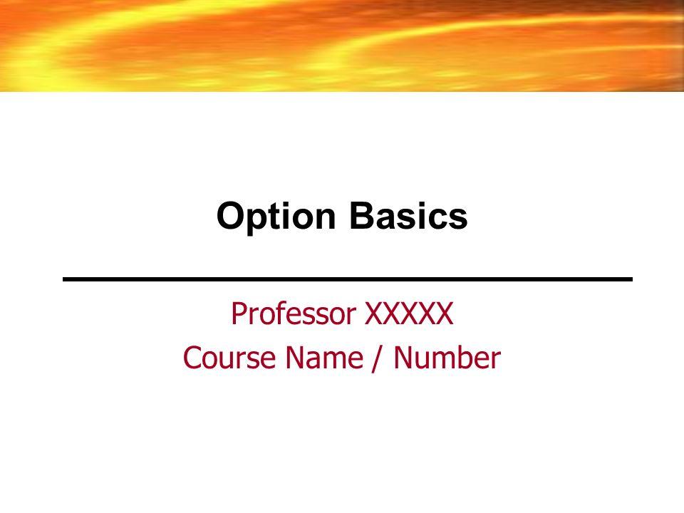 Option Basics Professor XXXXX Course Name / Number