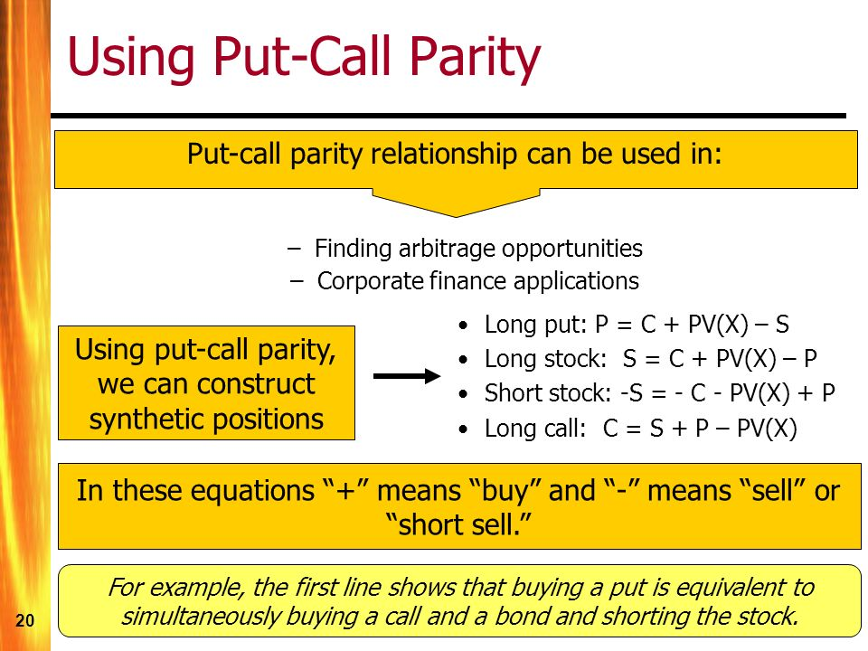 20 Using Put-Call Parity Put-call parity relationship can be used in: –Finding arbitrage opportunities –Corporate finance applications Long put: P = C + PV(X) – S Long stock: S = C + PV(X) – P Short stock: -S = - C - PV(X) + P Long call: C = S + P – PV(X) Using put-call parity, we can construct synthetic positions In these equations + means buy and - means sell or short sell. For example, the first line shows that buying a put is equivalent to simultaneously buying a call and a bond and shorting the stock.