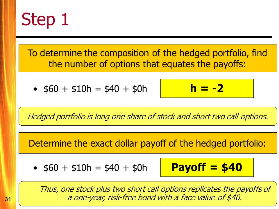 31 Step 1 To determine the composition of the hedged portfolio, find the number of options that equates the payoffs: $60 + $10h = $40 + $0h Payoff = $40 Hedged portfolio is long one share of stock and short two call options.