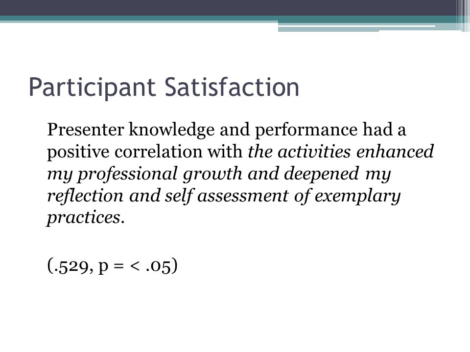 Participant Satisfaction Presenter knowledge and performance had a positive correlation with the activities enhanced my professional growth and deepened my reflection and self assessment of exemplary practices.