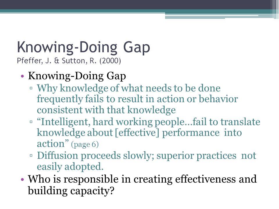 Knowing-Doing Gap Pfeffer, J. & Sutton, R.