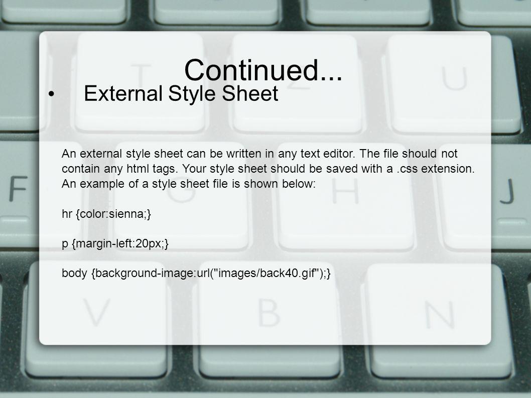 Background image external css - External Style Sheet An External Style Sheet Can Be Written In Any