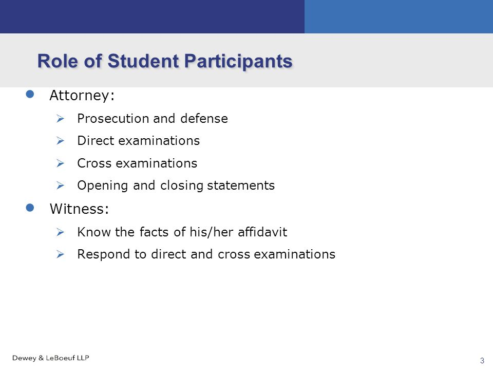 new york state mock trial introduction session overview  mock  4 3 role of student participants  attorney  prosecution and defense  direct examinations  cross examinations  opening and closing statements