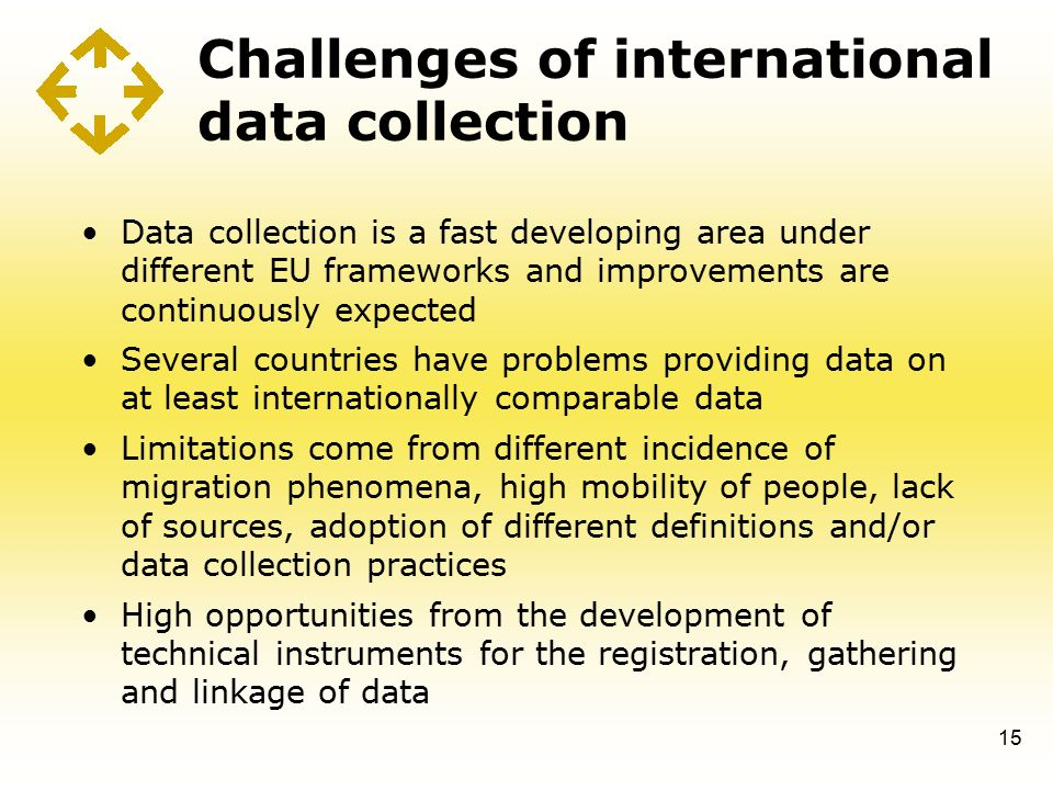 Challenges of international data collection Data collection is a fast developing area under different EU frameworks and improvements are continuously expected Several countries have problems providing data on at least internationally comparable data Limitations come from different incidence of migration phenomena, high mobility of people, lack of sources, adoption of different definitions and/or data collection practices High opportunities from the development of technical instruments for the registration, gathering and linkage of data 15