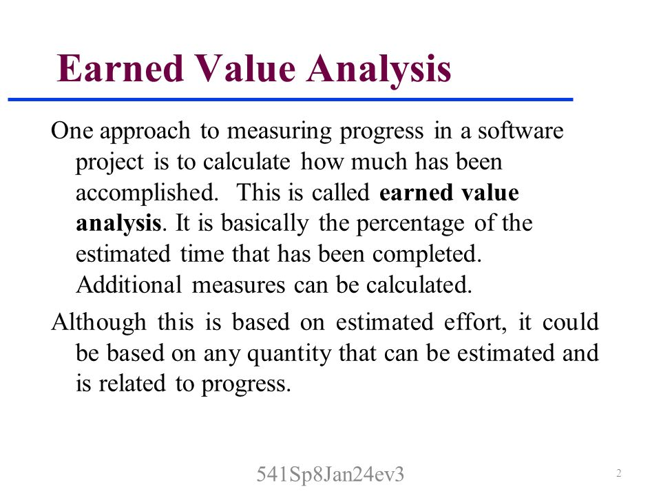 Earned Value Sos Section SpJanEv Earned Value Analysis One