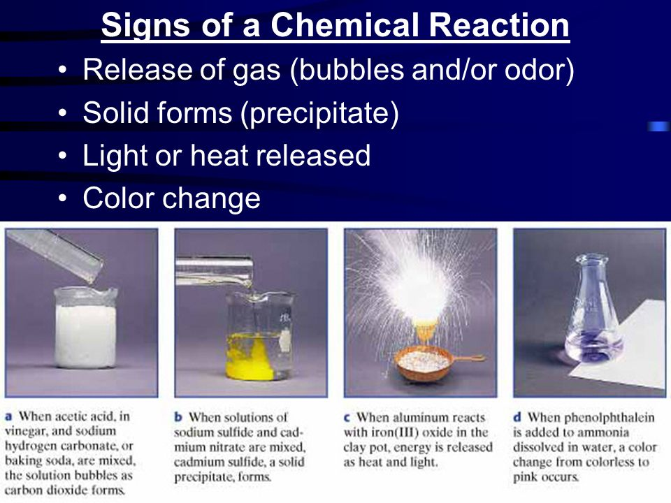 Signs of a Chemical Reaction Release of gas (bubbles and/or odor) Solid forms (precipitate) Light or heat released Color change