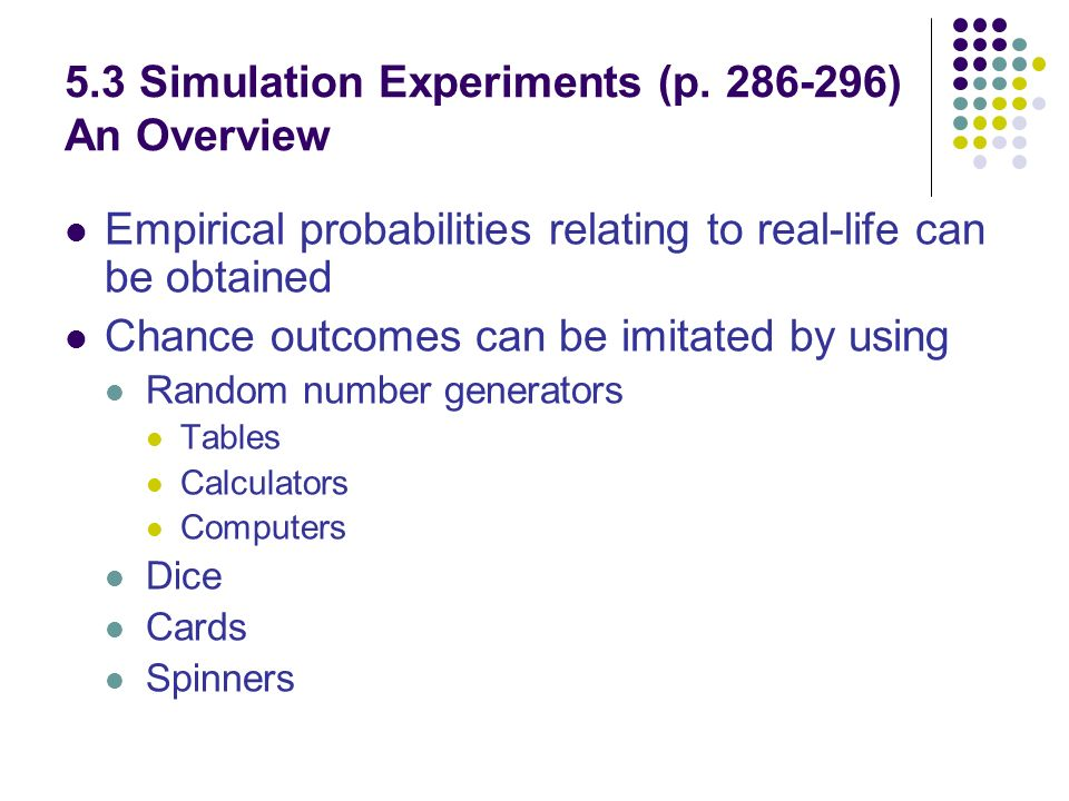 5.3 Simulation Experiments (p.