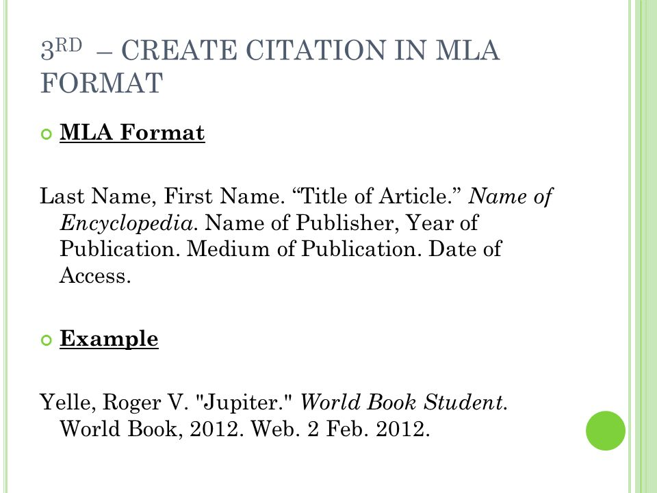 mla format for encyclopedia