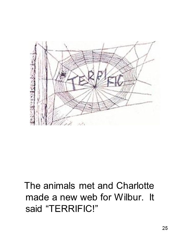 25 The animals met and Charlotte made a new web for Wilbur. It said TERRIFIC!