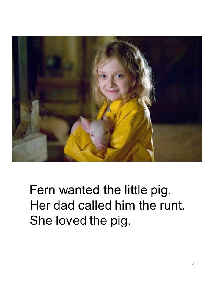 4 Fern wanted the little pig. Her dad called him the runt. She loved the pig.
