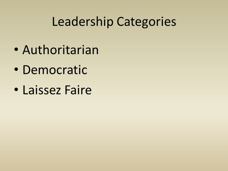 Authoritarian Democratic Laissez Faire Leadership Categories