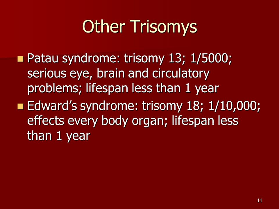 11 Other Trisomys Patau syndrome: trisomy 13; 1/5000; serious eye, brain and circulatory problems; lifespan less than 1 year Patau syndrome: trisomy 13; 1/5000; serious eye, brain and circulatory problems; lifespan less than 1 year Edward's syndrome: trisomy 18; 1/10,000; effects every body organ; lifespan less than 1 year Edward's syndrome: trisomy 18; 1/10,000; effects every body organ; lifespan less than 1 year