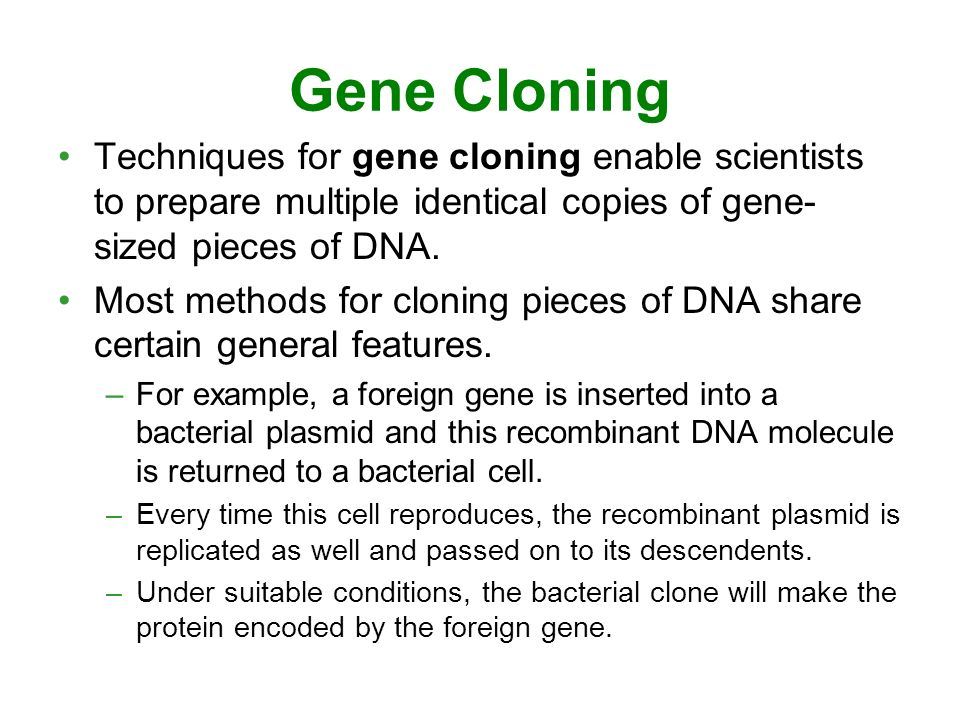 Gene Cloning Techniques for gene cloning enable scientists to prepare multiple identical copies of gene- sized pieces of DNA.