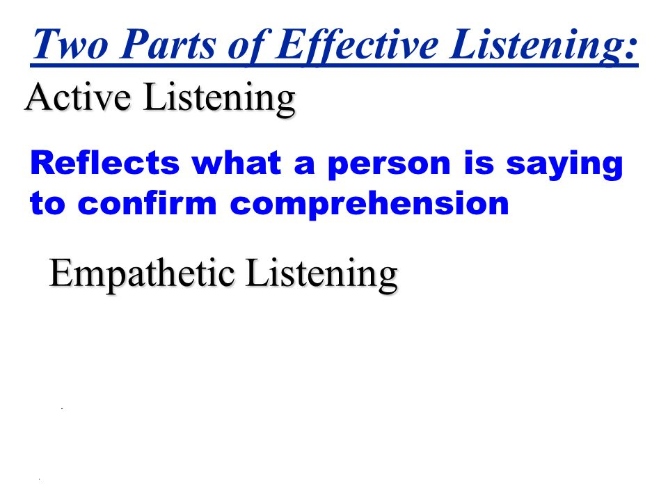 Two Parts of Effective Listening: Active Listening Empathetic Listening Reflects what a person is saying to confirm comprehension