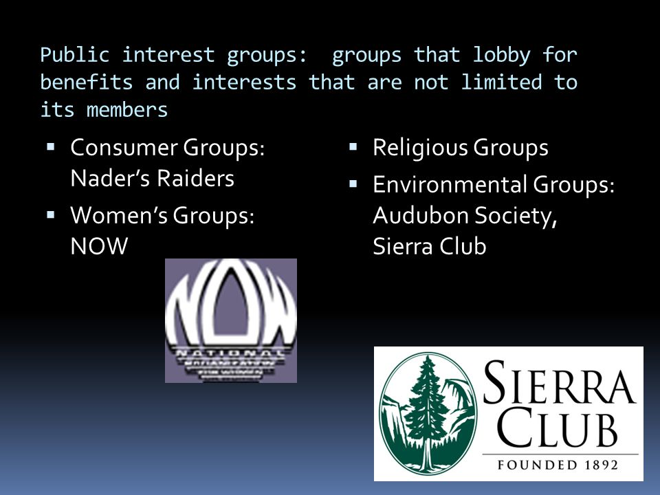 Public interest groups: groups that lobby for benefits and interests that are not limited to its members  Consumer Groups: Nader's Raiders  Women's Groups: NOW  Religious Groups  Environmental Groups: Audubon Society, Sierra Club